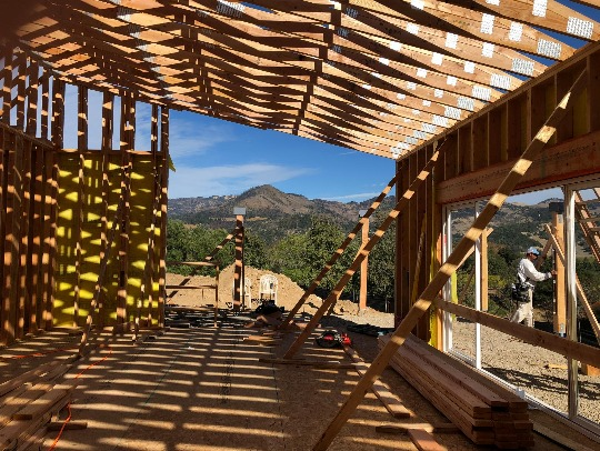 panelized wall panels and manufactured roof trusses by Pacific Modern Homes