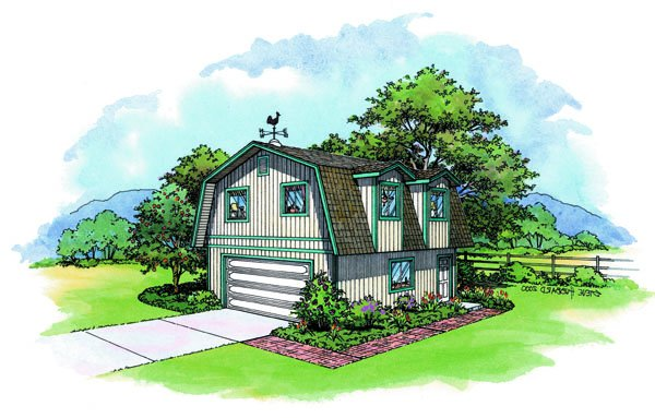 Pacific Modern Homes Austin plan features 2 car garage and gambrel roof