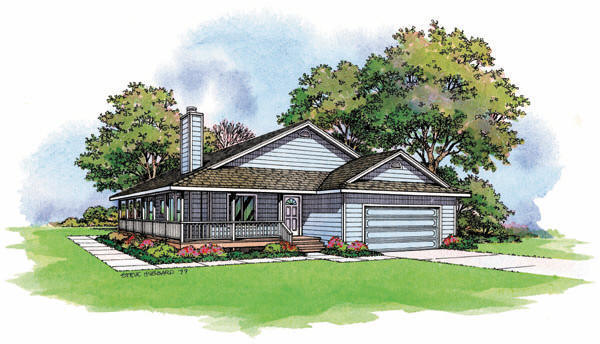 PMHI Riverbend home plan with open floor plan and large covered porch