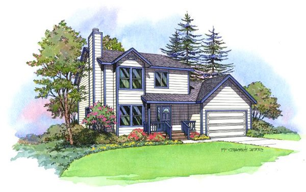 PMHI Westlake home design with two stories for a small lot three bedrooms