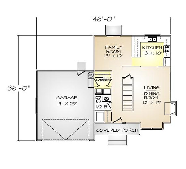 PMHI Westlake first floor plan with open space kitchen and family room and 2 car garage