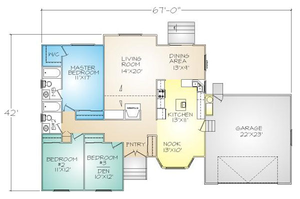 PMHI huntington floor plan with 3 bedrooms and open living area