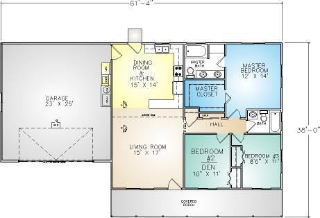 PMHI Lakeport floor plan with large covered porch and three bedrooms under 1200 sf for ADU or granny unit
