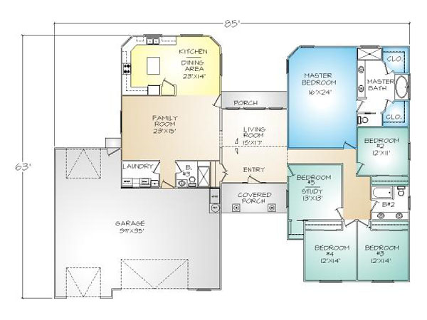 PMHI Avalon home floor plan with open living space, huge master bedroom and 3+ garage