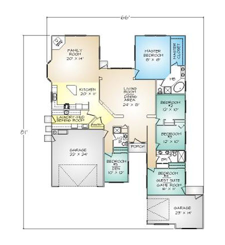 PMHI Silverton floor plan with 5 bedrooms and large open space design