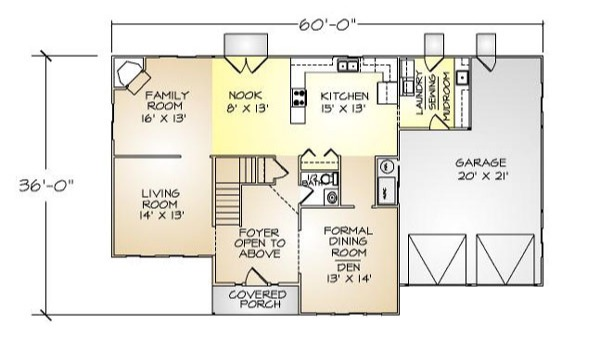 PMHI Springfield first floor plan with two story entry
