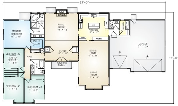PMHI San Rafael home floor plan with 4 bedrooms and 3 car garage