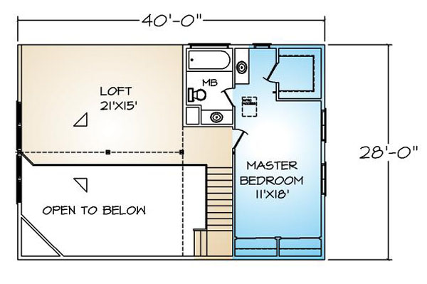 PMHI Auburn Chalet second floor plan with master bedroom and large loft
