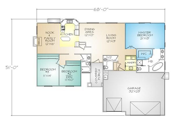 PMHI Laguna home floor plan with open space and huge master suite