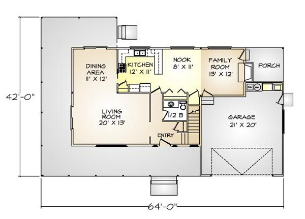 PMHI Woodbridge first floor plan with open space and huge covered porch