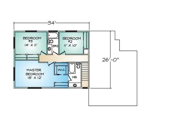 PMHI Woodbridge second floor plan with 3 bedrooms