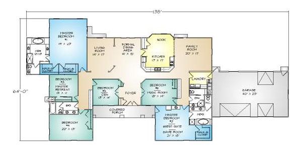 PMHI Phoenix home floor plan with 6 bedrooms and 3+ car garage and open floor plan
