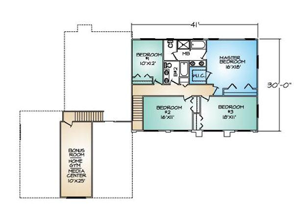 PMHI El Dorado second floor plan with 4 bedrooms and bonus room over garage