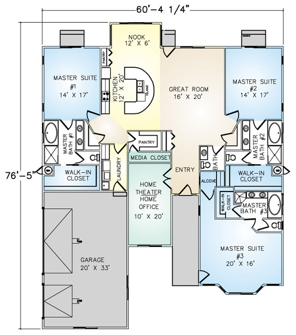 PMHI Borrego home floor plan with 3 master suites, 3 car garage and home theater
