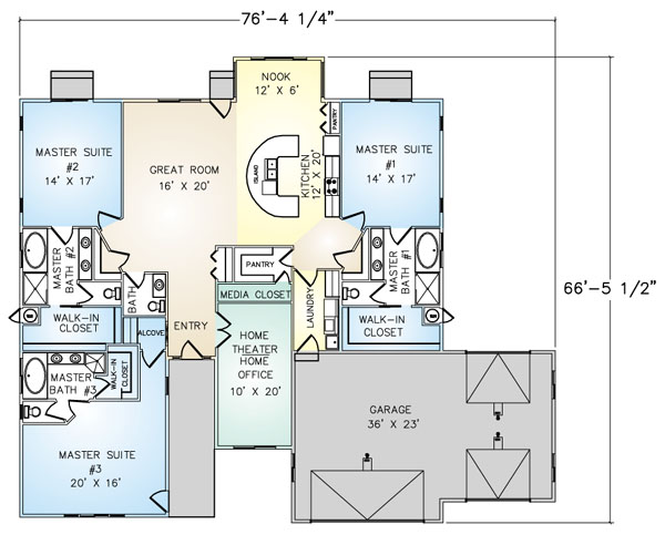 PMHI Montecito home floor plan with 3 master suites, home theater, 3 car garage
